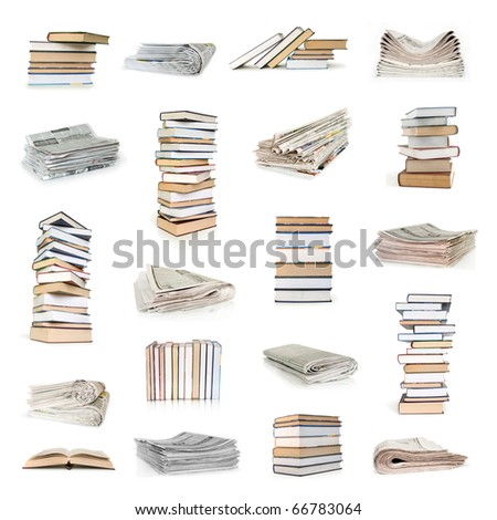 books and newspapers collection isolated on white