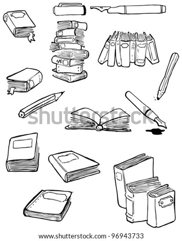 books and pens cartoon collection (raster version)