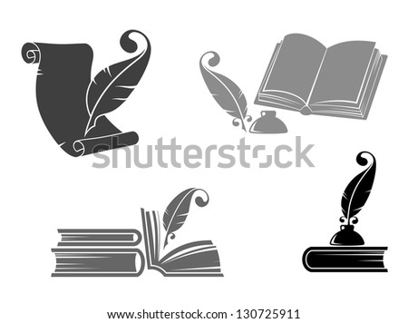 Books and quills icons for education design. Vector version also available in gallery