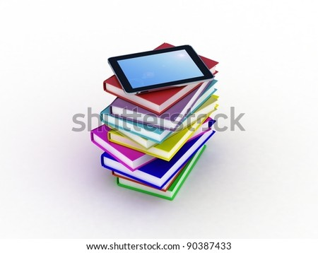 Books and  tablet, 3D