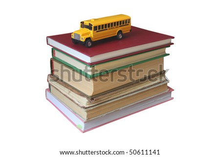 Books and yellow bus