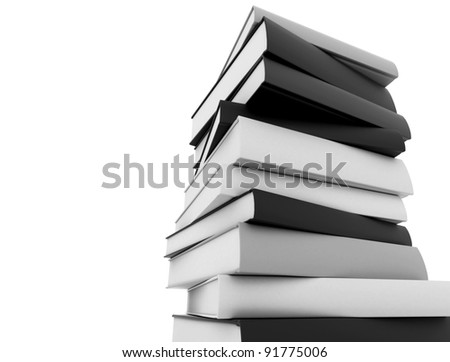 Books black and white stacked against white background