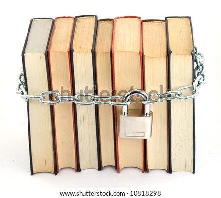 books chained and locked with padlock