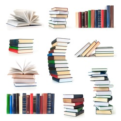 Books collection isolated on a white background.