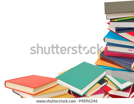Books combined in studying subjects - stock photo