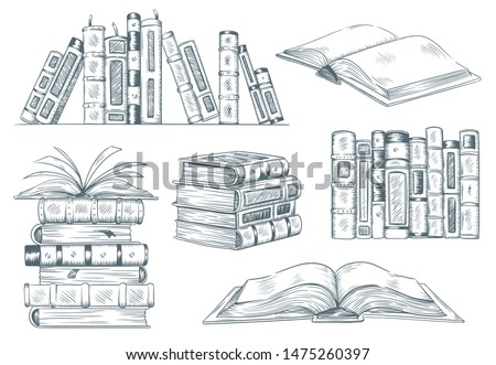 Books engraving. Vintage open book engrave sketch drawn. Hand drawing student reading textbook. Sketched notebook or literature library books sketching. illustration isolated signs set
