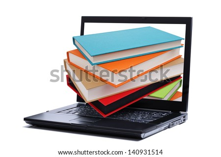 Books falling through a laptop computer monitor