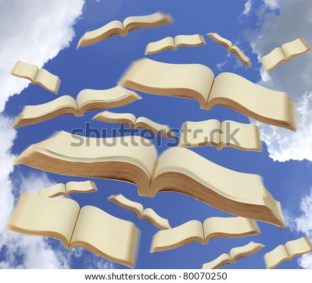 Books fly to the sky