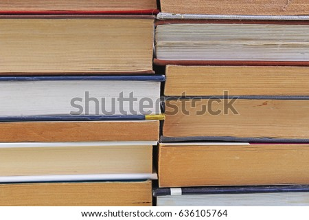 Books illustrate education study concept. Book texture pattern wallpaper. Photo of books.