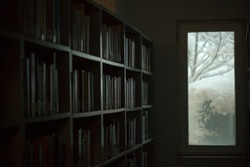 Books in a dark room. Windows and trees covered with snow in the background.