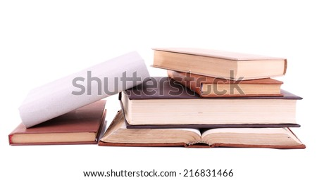 Books in a mess isolated on white
