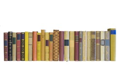 books in a row, isolated, blank labels, free copy space