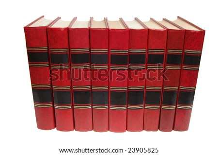 books in a row, isolated on white