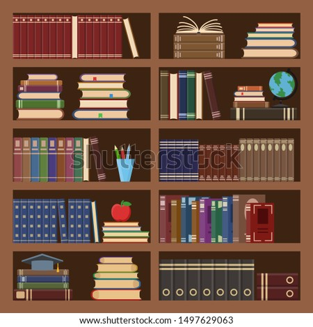 Books in bookcase seamless pattern. School book, science literature textbook, dictionary and magazines stack at university old library bookshelf. College textbooks or bookshop retro background