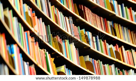 Books in tall Bookshelf, in public library #149878988