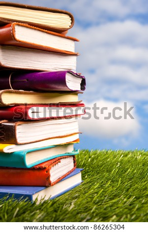 Books in the grass on a sky background.