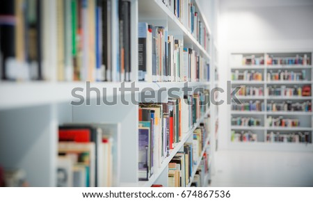 Books in the new, modern library in Stuttgart, Germany