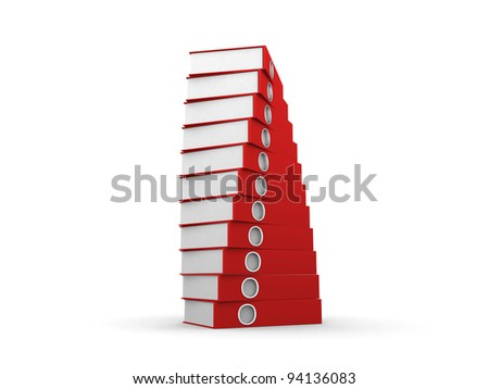 Books isolated on white - 3d render - stock photo