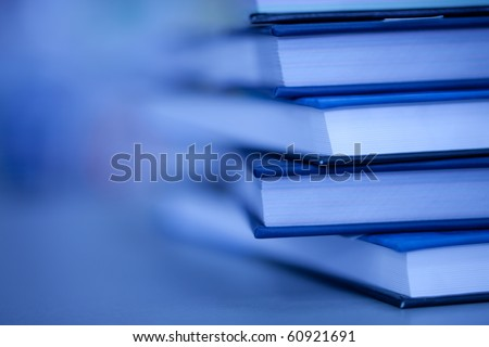books lie on each other. with copy-space, small depth to sharpness