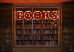 Books Neon Window Sign