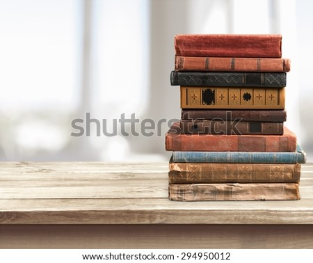 Books, old, stacked.
