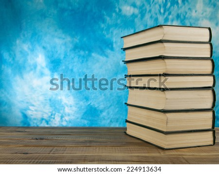 books on a blue background