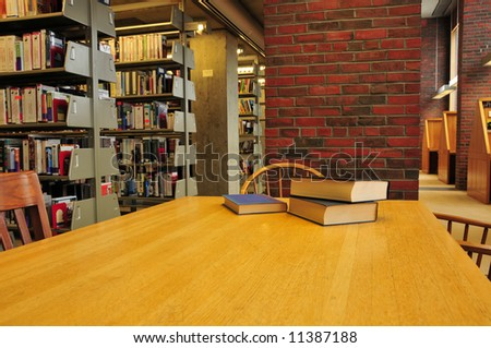 Books on a library table