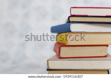Books on a white table in a bookstore Stockfoto ©