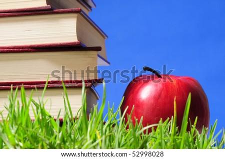 Books on grass.