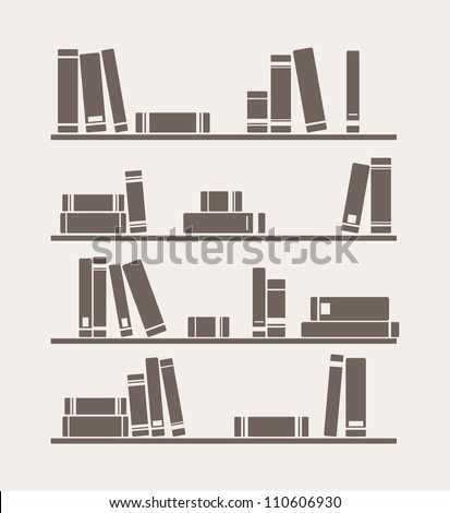 Books on the shelves simply retro illustration. Vintage library objects for decorations, background, textures or interior design wallpaper. - stock photo