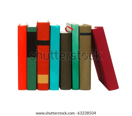 Books on white table