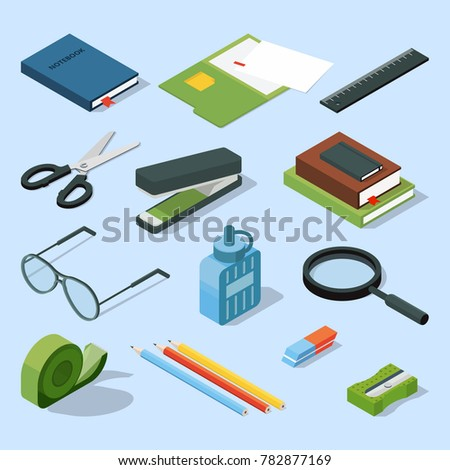 Books, paper documents in folders, and other base stationary elements set. isometric office equipment stationary element scissor and stapler illustration