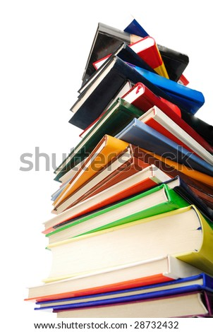 Books pile isolated on white