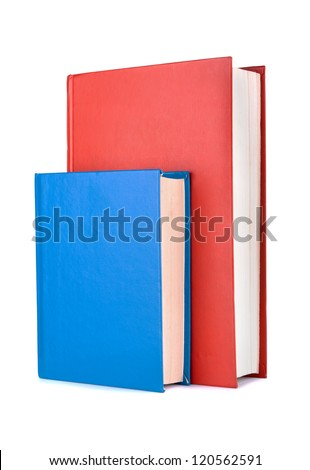Books red and blue on a white background