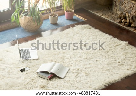 Books, smartphone and laptop lying on white carpet in modern luxury living room interior, cozy place for reading, studying and relaxing at home, flowers and fireplace with logs on the background