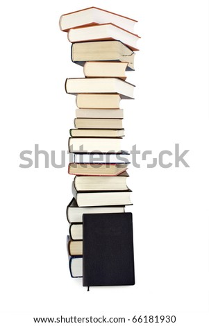 books stack isolated on the white