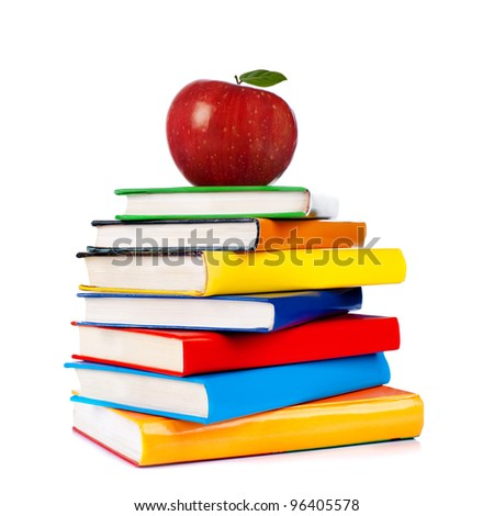 books tower with apple isolated ...