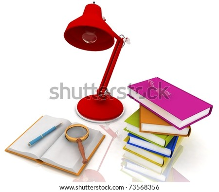 books with a lamp and glasses on white background