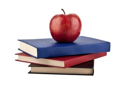 books with apples on a white background
