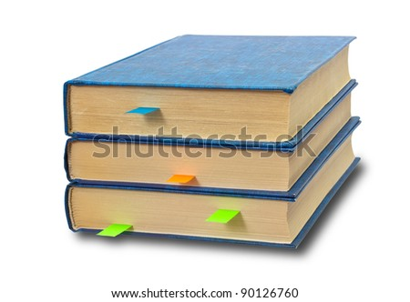 Books with bookmarks on white