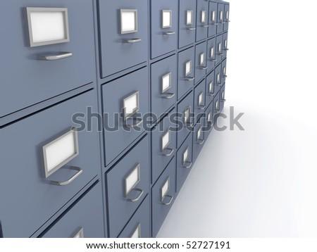 Bookshelf for documents . 3d render