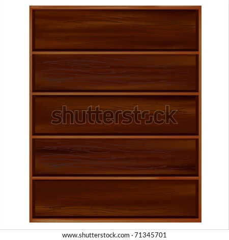 Bookshelf From Dark Wood With Shelves, Isolated On White Background