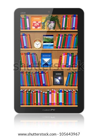 Bookshelf in tablet computer isolated on white background with reflection effect