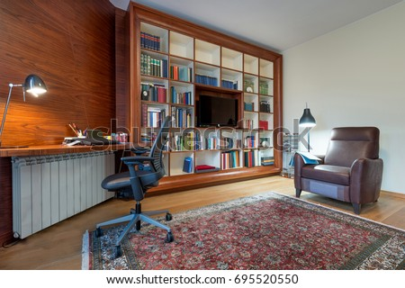 Bookshelf in the living room interior