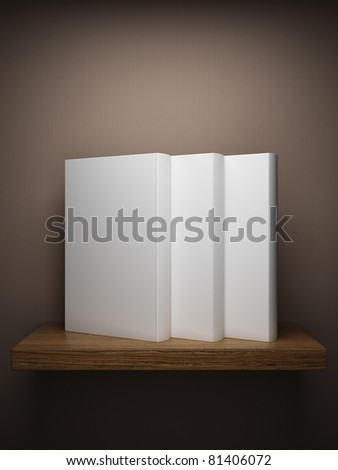 Bookshelf on the wall with books - stock photo