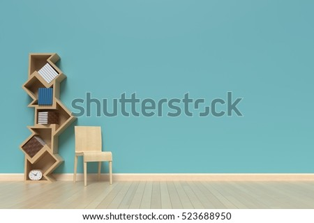 Bookshelf on the wall with books and clock,3D rendering