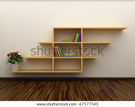 Bookshelf on the wall with books and dvd