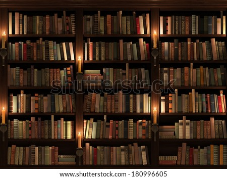 Bookshelf. Seamless texture. Background. Mysterious library with candle lighting.