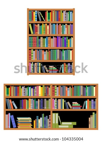 Bookshelf with books isolated on white background for education or interior design. Vector version also available in gallery