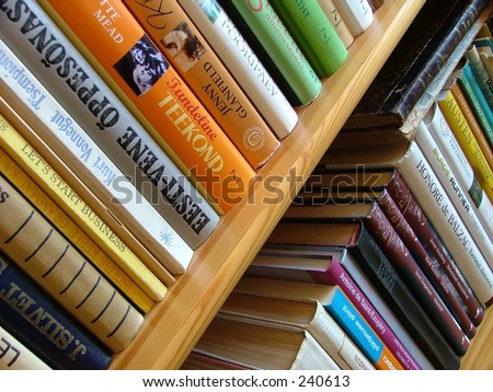 bookshelf with many colorful books
